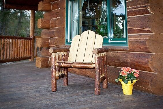 Outdoor Log Chairs Rustic Patio Chair Amish Made Lodge Cabin Deck Furniture Ebay