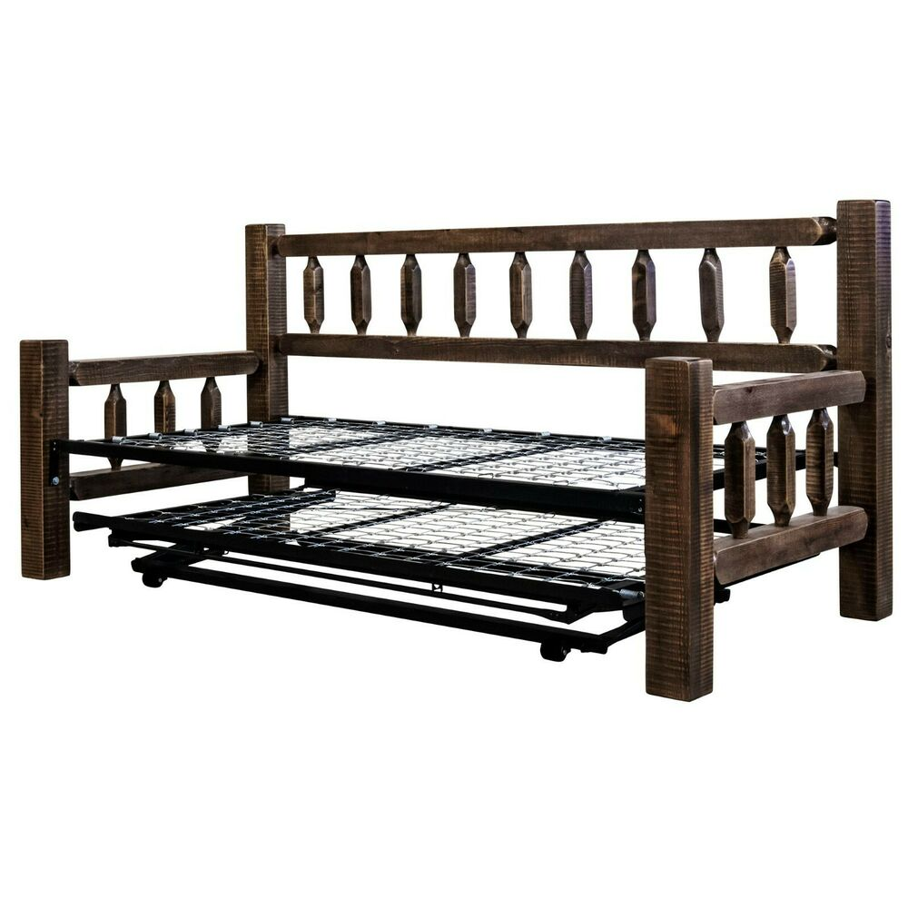 Rustic Wood Daybed With Trundle Amish Farmhouse Day Bed