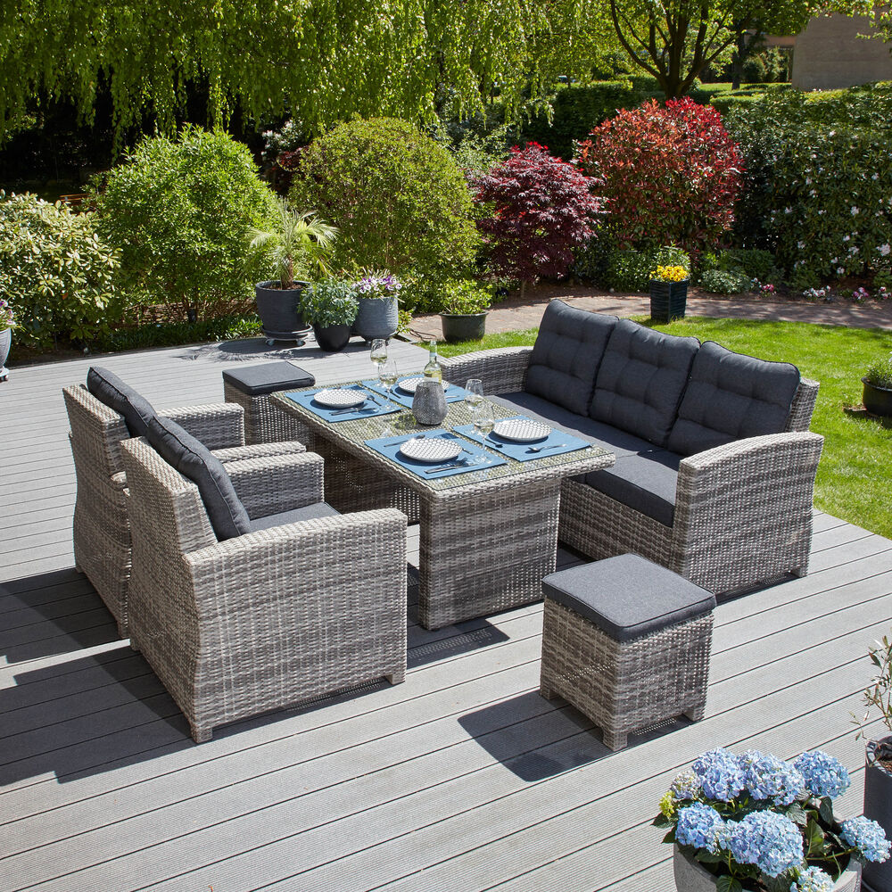 gartenlounge grau polyrattan aluminium tischgruppe sitzgruppe tisch poly rattan ebay. Black Bedroom Furniture Sets. Home Design Ideas
