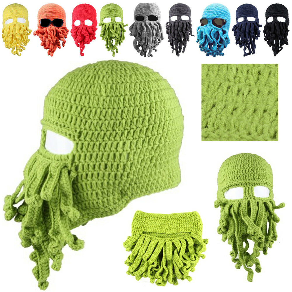 Details about Halloween Octopus Mask Beard Hat Squid Tentacle Ski Cap Wool  Knit Cthulhu Beanie a92dce6bcde