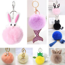 2018 New Cute Pineapple Fur Ball Keychain Bag Car Pendant Keyring Birthday Gifts