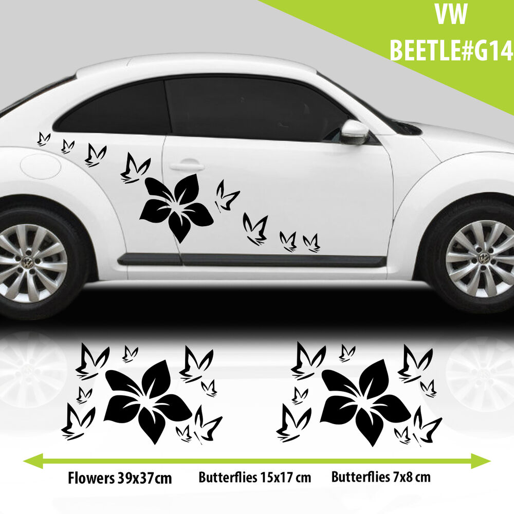vw beetle flowers with butterflies graphics stickers. Black Bedroom Furniture Sets. Home Design Ideas