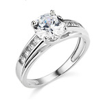 3 Ct Round Brilliant Cut Real 14K White Gold Engagement Wedding Ring Trellis