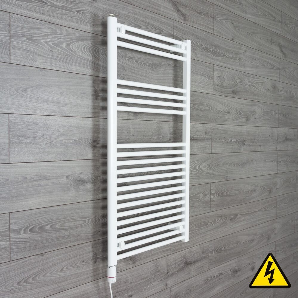 White Electric Towel Rails White Electric Bathroom Towel: White Electric Towel Rail Radiator PRE-FILLED Thermostatic