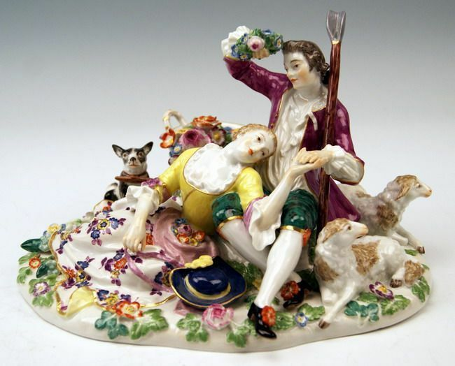 meissen 2 sch fer figuren liebespaar 2 shepherd loving couple mnr 485 um 1860 ebay. Black Bedroom Furniture Sets. Home Design Ideas