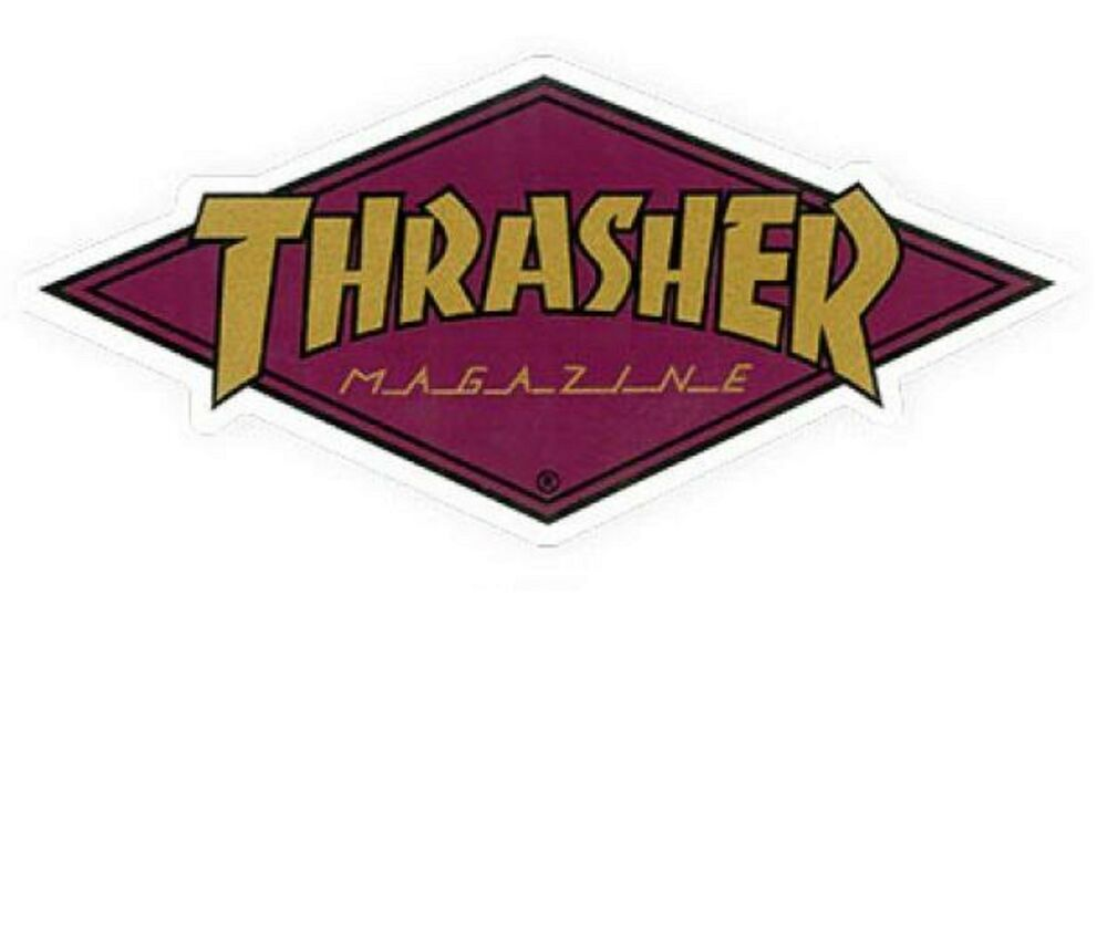 Thrasher Diamond Logo Skateboard Sticker 10cm Burgundy Gold