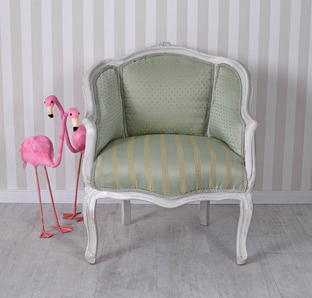 Rococo fauteuil bergere style maison de campagne baroque shabby chic chaise ebay - Maison style baroque ...