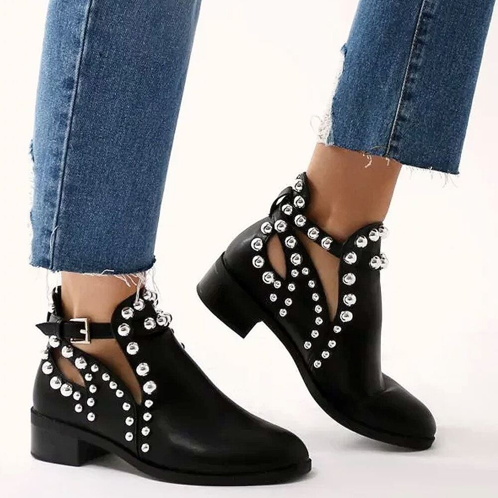 Womens Black Flat Chelsea Ankle Boots Studded Embellished ...