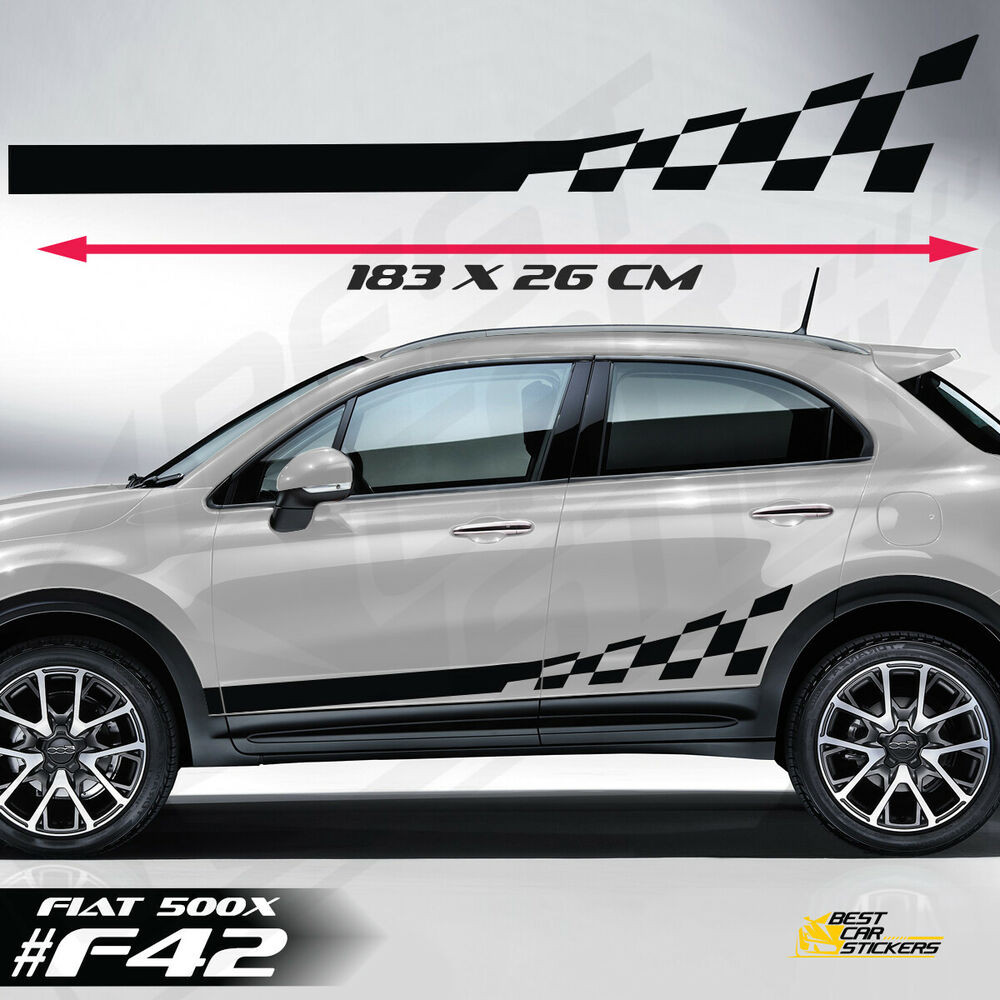 Details about fits fiat 500x side racing stripes car stickers decals rally graphics vinyl