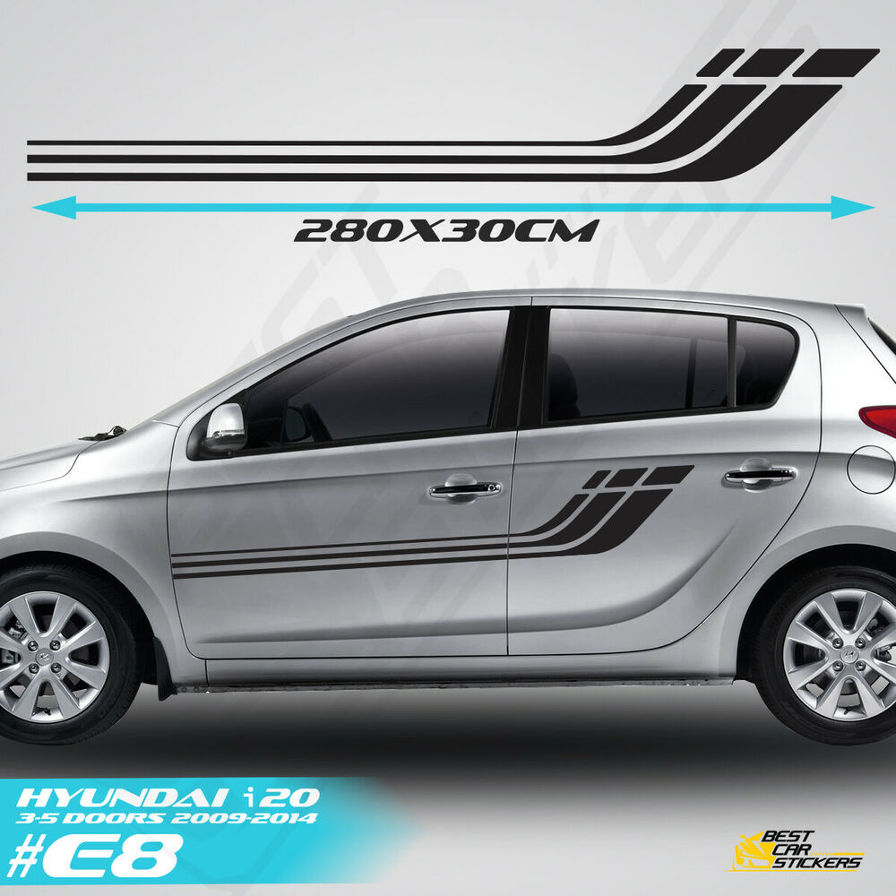 Fits Hyundai I 20 Side Racing Stripes Car Stickers Graphics Tuning Rally Decals Ebay