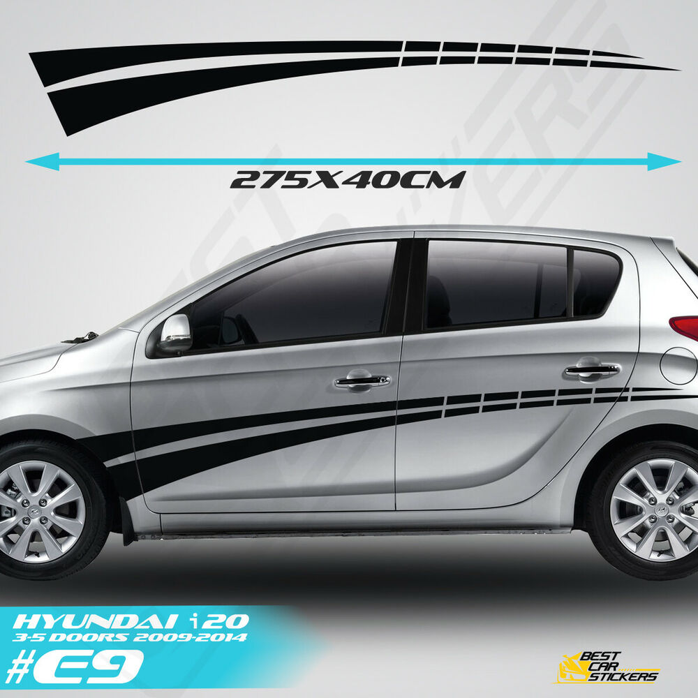 Details about fits hyundai i 20 side racing stripes car stickers graphics tuning rally decals