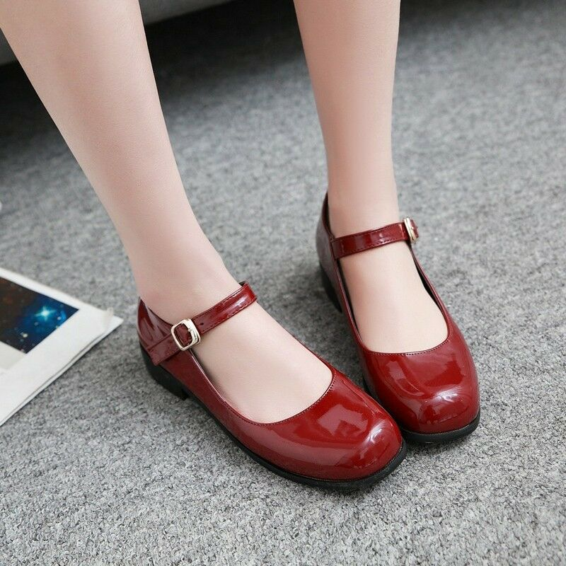ae476d75dfa7 Details about Retro Womens Mary Janes Low Heels Patent Leather Pumps Buckle  Strap Casual Shoes