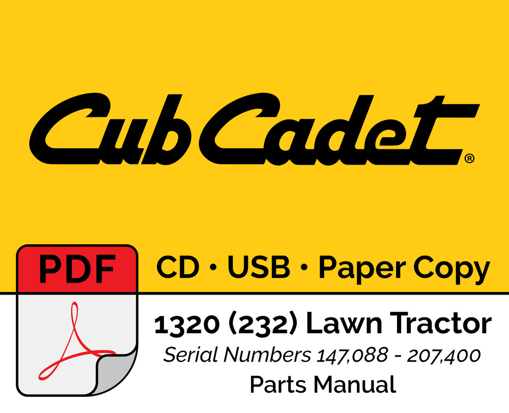 Cub Cadet 1320 (232) Lawn Tractor Parts Manual - PDF CD USB Hard Copy | eBay