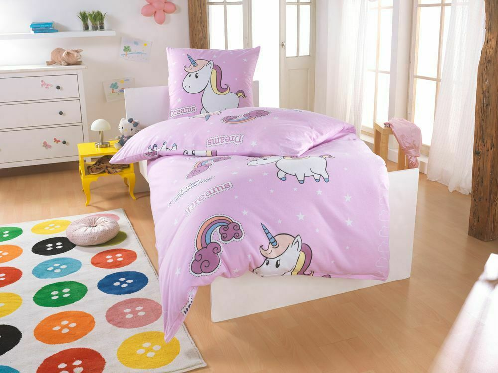 bettw sche little einhorn unicorn pony hochwertige microfaser bettbezug 135x200 ebay. Black Bedroom Furniture Sets. Home Design Ideas