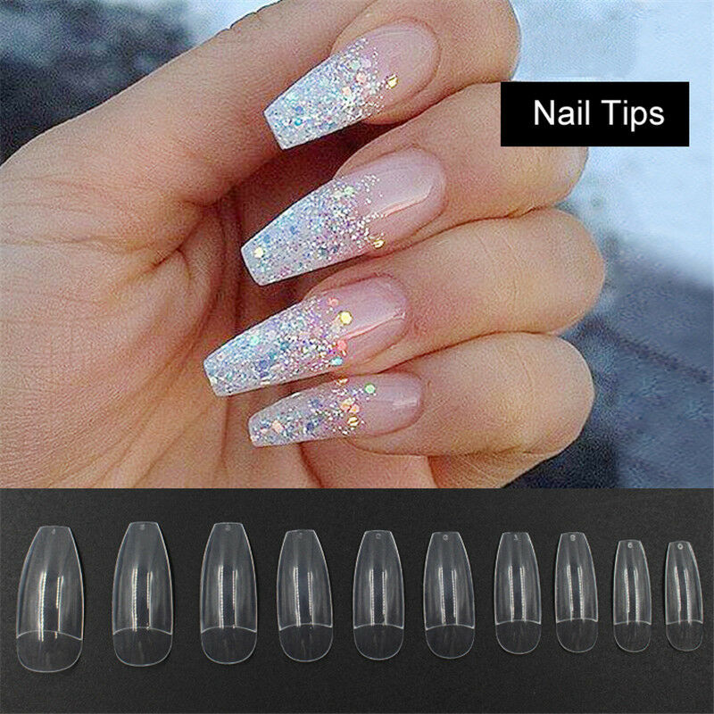 100 500pcs Half Cover False Fake Nails Long Ballerina Coffin Shape Diy Nail Art