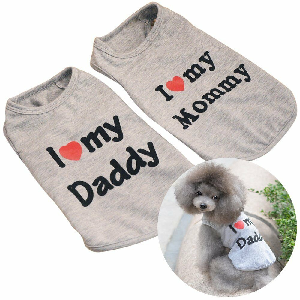 15df3870a22b Dog Shirt Embroidered I love my mommy daddy Cotton Pet Clothes Valentine s  Day