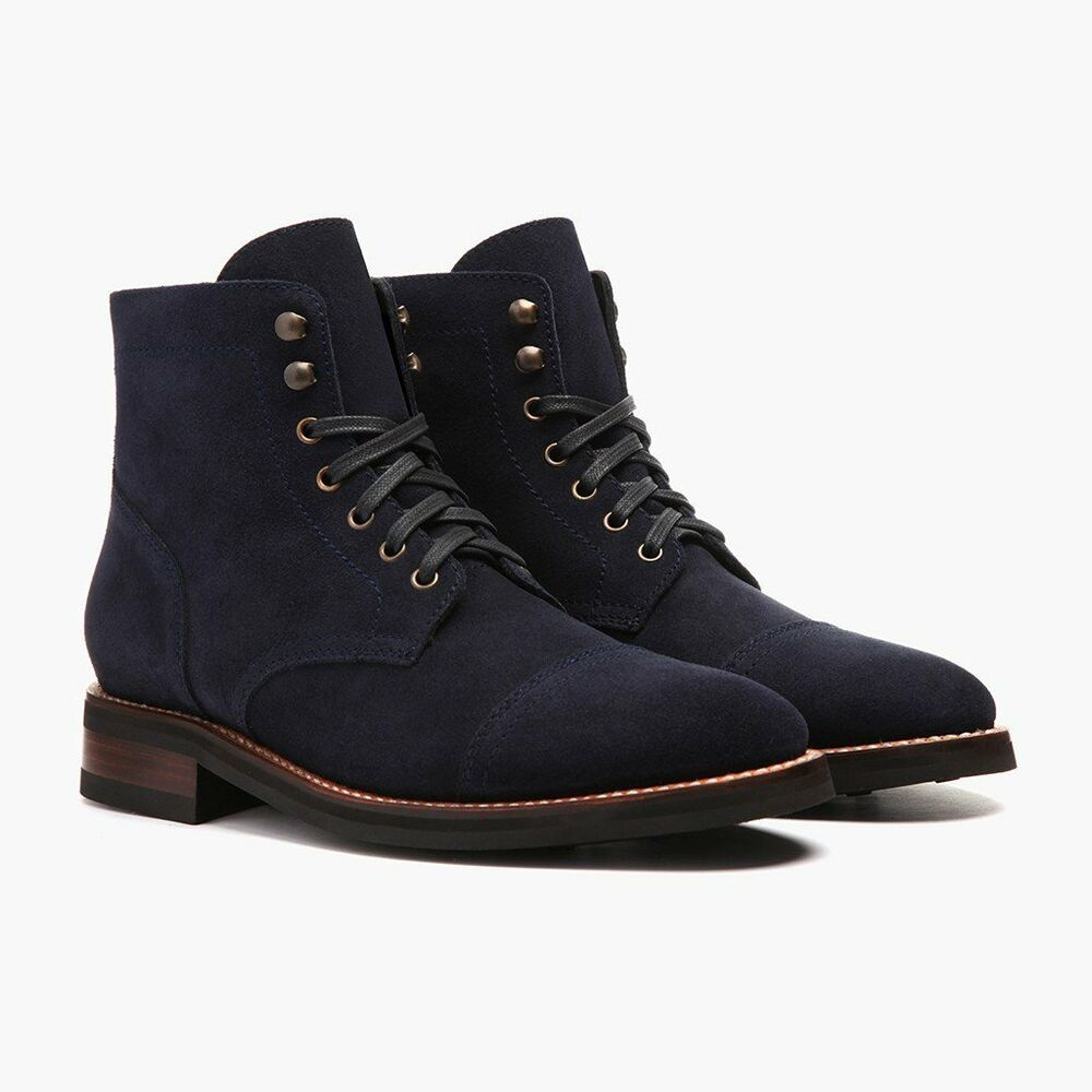 Handmade Men Navy Blue Suede Ankle Boots Mens Fashion Lace Up Boots