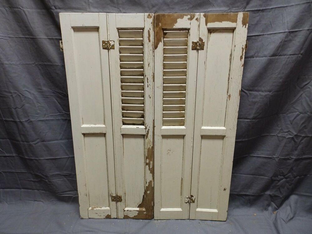 Antique Bi Fold Window Wood Louvered Paneled Shutters 33x25 Interior Vtg 424 18p Ebay