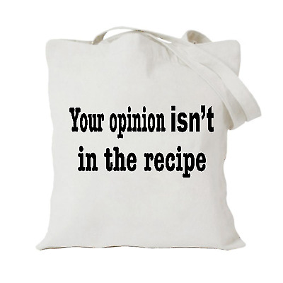 535af32bf358 Details about YOUR OPINION Tote bag   a bag for life   Cotton Carrier  COOKING FOOD FUNNY