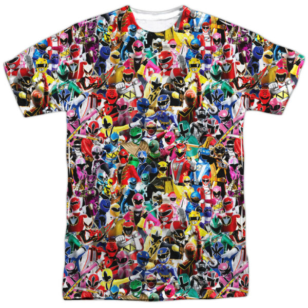 Power Rangers Collage CROWD OF RANGERS 1-Sided Big Print Poly T-Shirt