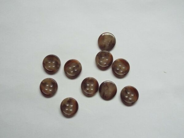 10pc 14mm Chocolate Brown Mock Horn Suit Cardigan Knitwear Baby Button 5603