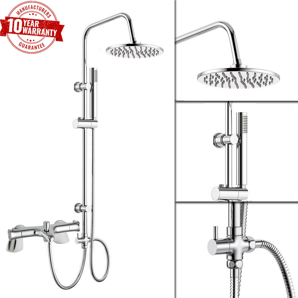 Thermostatic Bath Shower Mixer Tap With Round 3 Way Shower