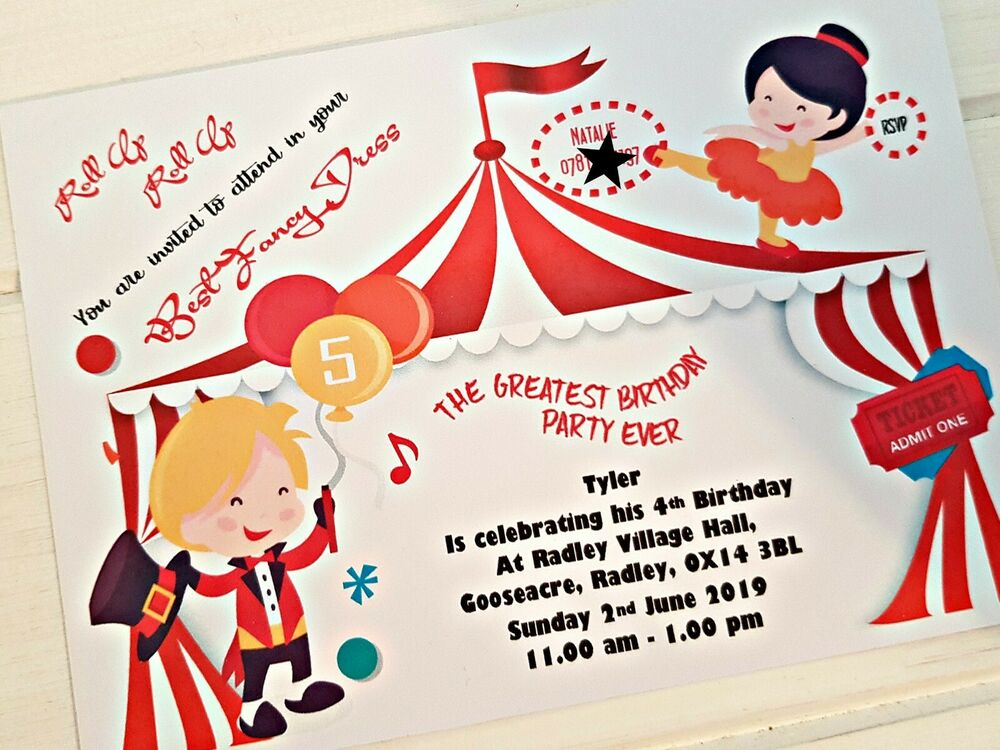 Circus Greatest Showman Themed Party Invites Personalised