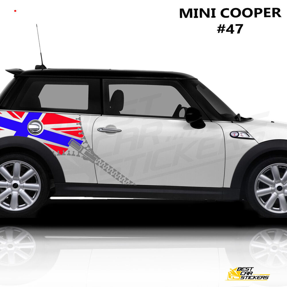 Details about car side stripes for mini cooper car decals car stickers union flag with zipper