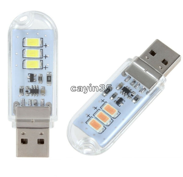 Portable USB 3 LED SMD Touch Switch Night Card Lamp Camping Reading Light