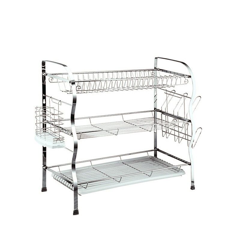 3 Tier Chrome Plated Steel Dish Drainer Plates Cups Glass