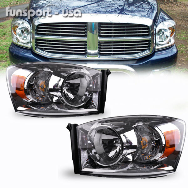 for 2006-2008 Dodge Ram Pickup Headlights Chrome Clear Headlamps Assembly PAIR