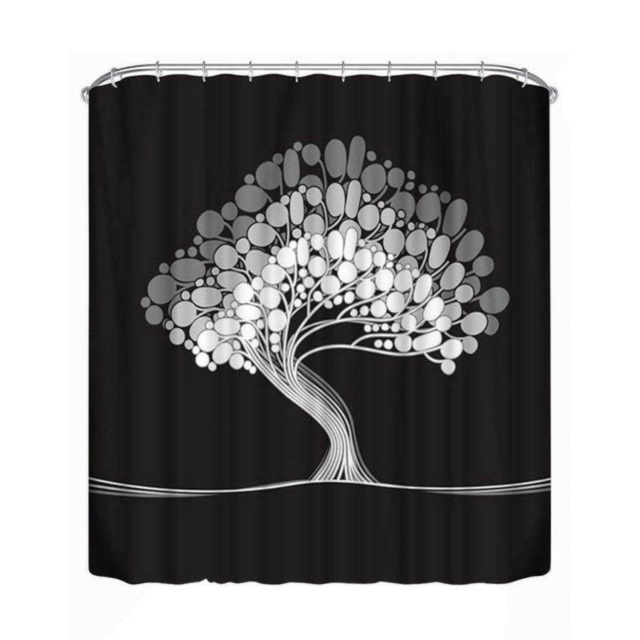 White Tree On Black Background Bathroom Shower Curtain Polyester