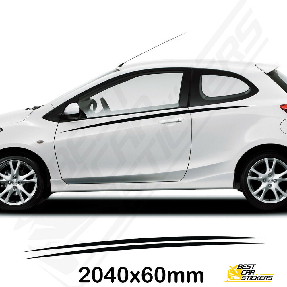 Details about mazda 2 sports side racing stripes decal graphics tuning car stickers vinyl