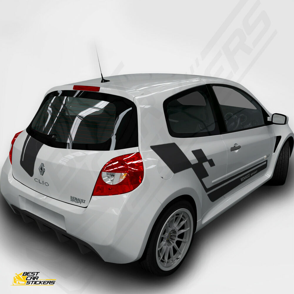 Fits Renault Clio Sports Full Kit Racing Side Stripes Car Stickers Graphics  | eBay