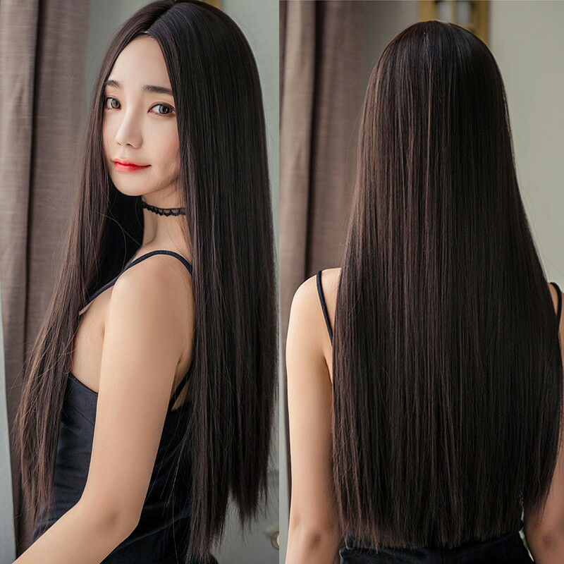 Women Long Straight Full Wig Hair Part Bangs Synthetic ...