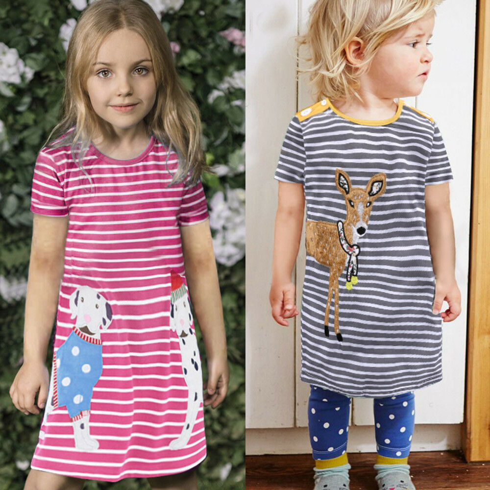 Toddler Baby Kids Girls Cartoon Shirt Dress Striped Animals Outfits Clothes New | EBay