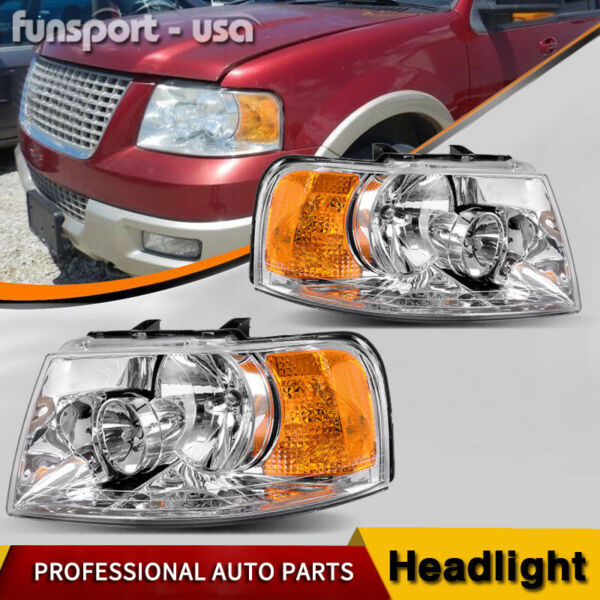 for 2003 2004 2005 2006 Ford Expedition Chrome Headlights Headlamps Assembly