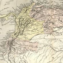 South America- Colombia Guyana Paraguay Peru Brazil 1855 Dufour old map