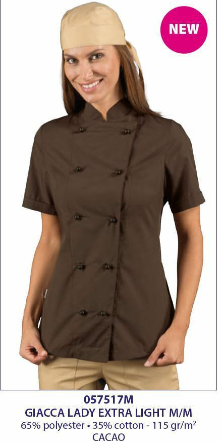 GIACCA CUOCA CHEF DONNA LADY EXTRA LIGHT CACAO MEZZA MANICA ISACCO JACKET  2989acc969a3