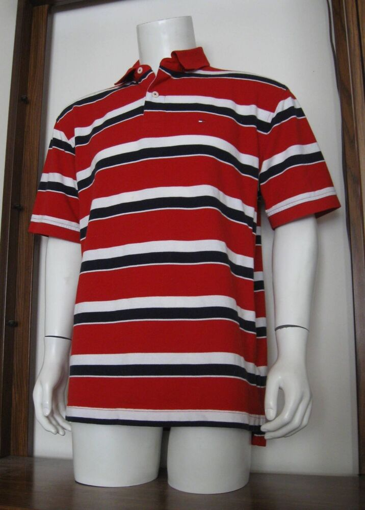 XL Men Tommy Hilfiger Polo Shirt Red White Navy Cotton