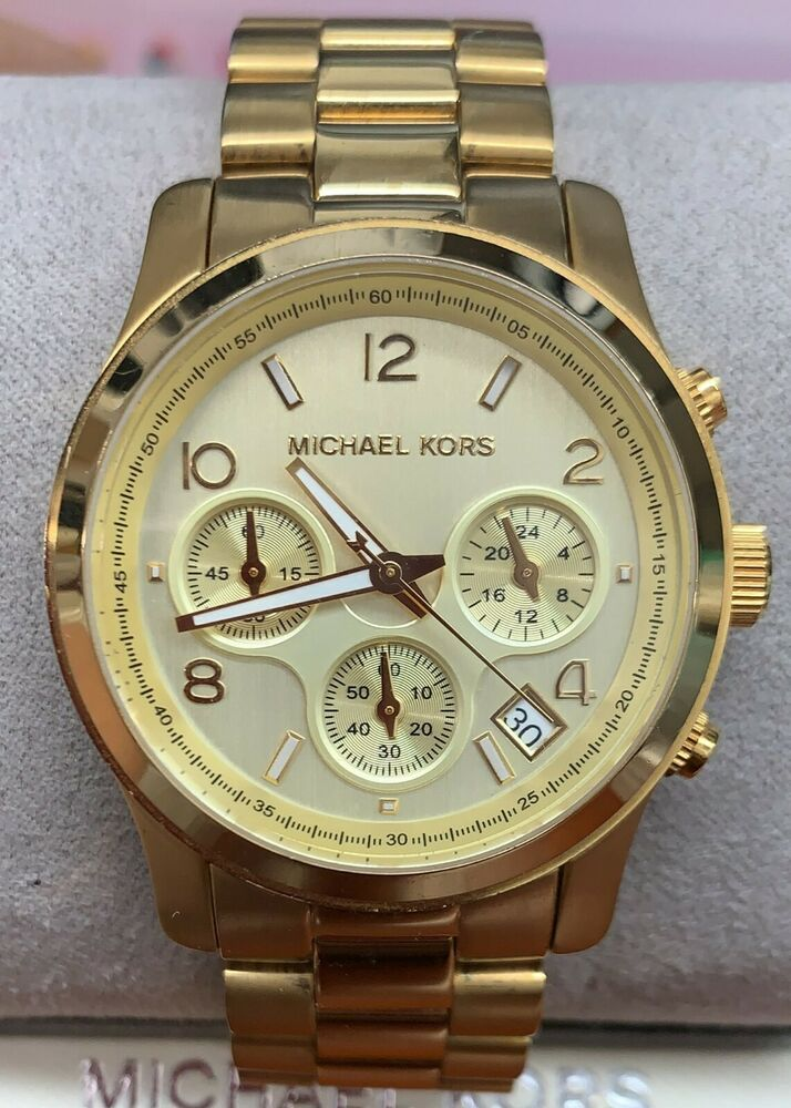 50f7618aa50e Details about Michael Kors Runway Chronograph Women s Gold Tone Stainless  Steel Watch MK5055