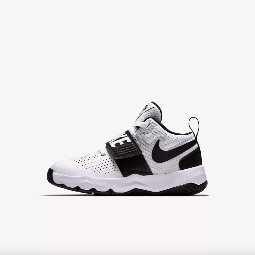 c8d705e8252c Details about Nike TEAM HUSTLE D 8 (PS) PreSchool Boys White Black  881942-100 Basketball Shoes