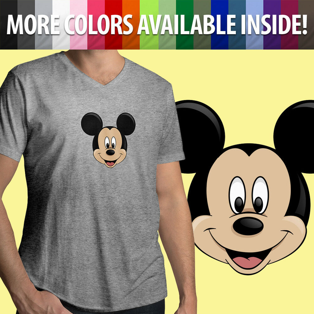 5131ef2925b Details about Mickey Mouse Happy Face Head Classic Disney Disneyland Mens  Tee V-Neck T-Shirt