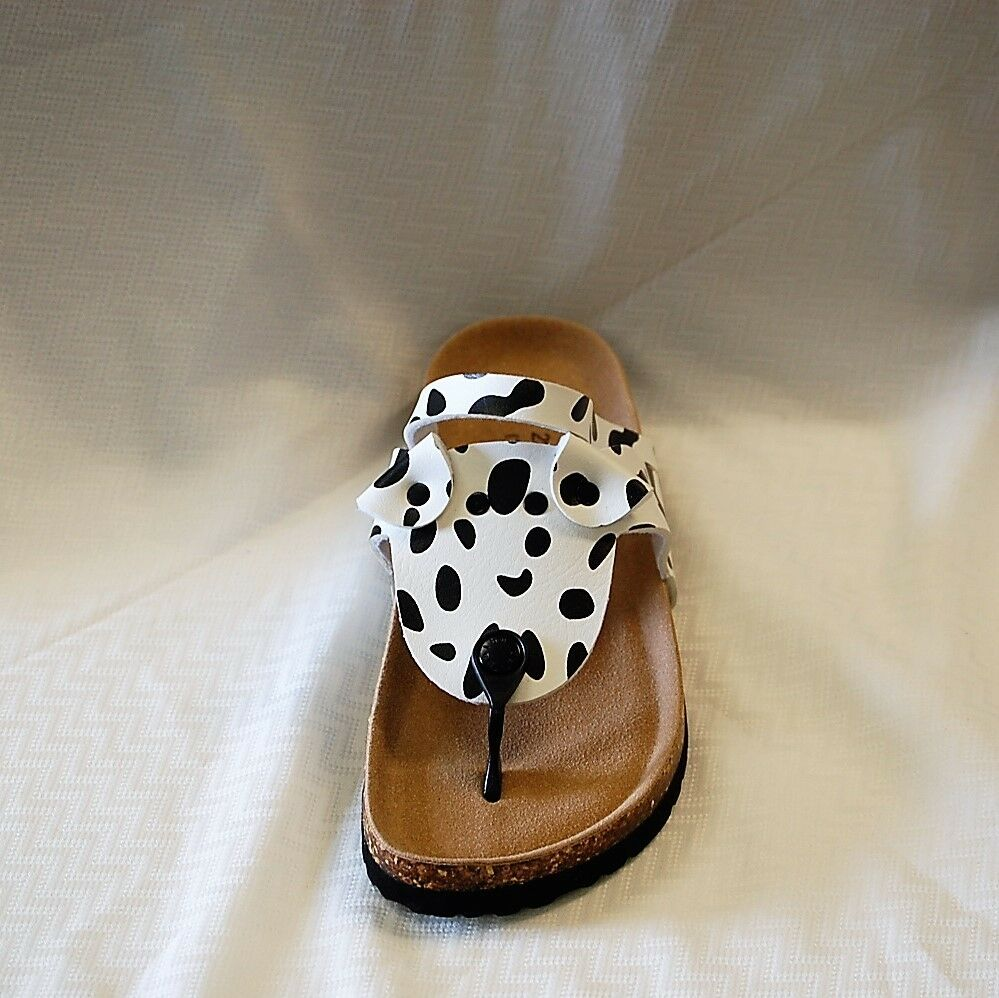 62122be04573 Details about Maibulun Rovers Spot Women s Black   White Spots footbed  thong sandal PUPPIES!!!