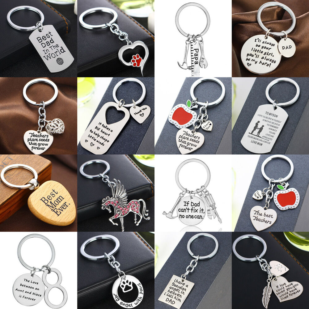 Details about Heart Pendant Car Keyring Charm Keychain Silver Dad Mom Gifts  Presents Women Men 0ef96cb37e