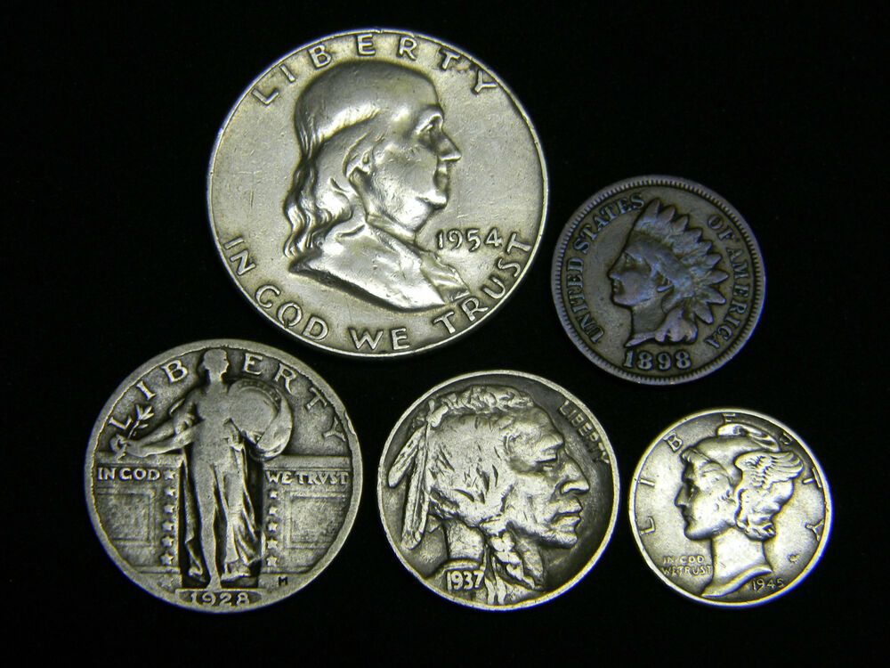 Old U S Silver Coins 5 Coin Collection Set Ebay