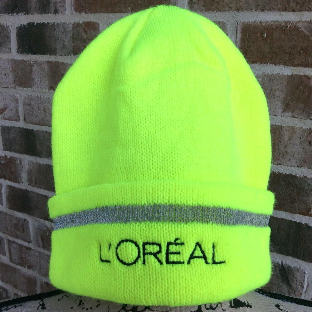 Details about LOREAL USA Neon Yellow Ski Hat Beanie Cap Embroidered NWT 74b55625598