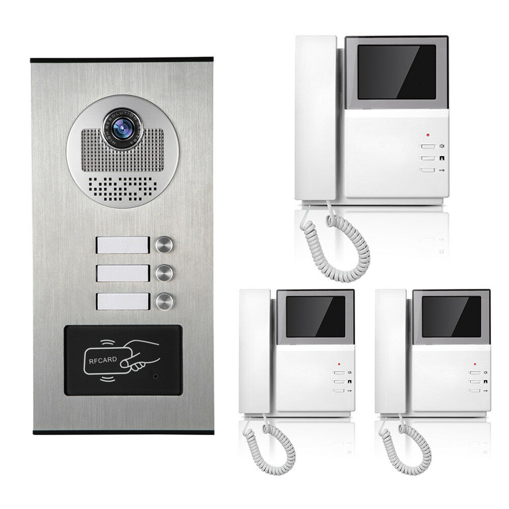 Apartment Wired Video Door Phone RFID Card Audio Visual Intercom ...