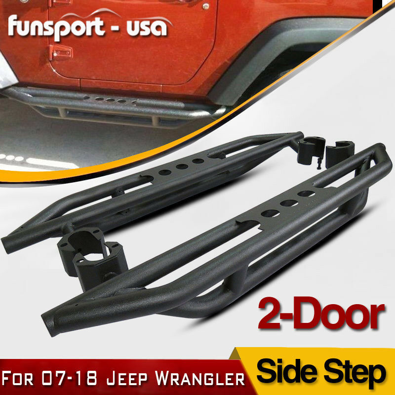 2x Side Steps Nerf Bars Running Boards For 2007-2018 Jeep