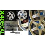 Wheel decal sticker to fit Compomotive Motorsport rally wheel with flag 93mm X4